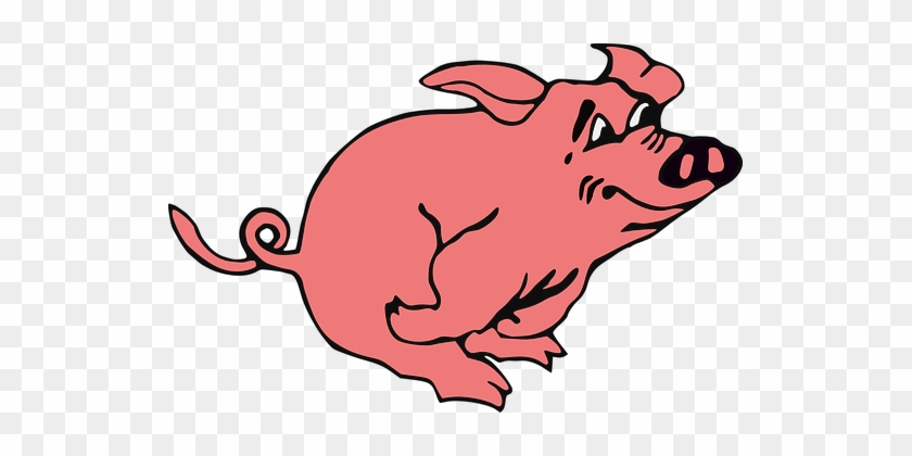 Pig, Hog, Piggy, Pink, Swine, Pork - Pig Running Clipart #329179