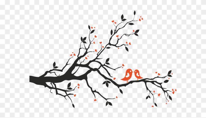 Vinilo Decorativo Arbol Con Pajaros 2 Colores - Tree Branch With ...