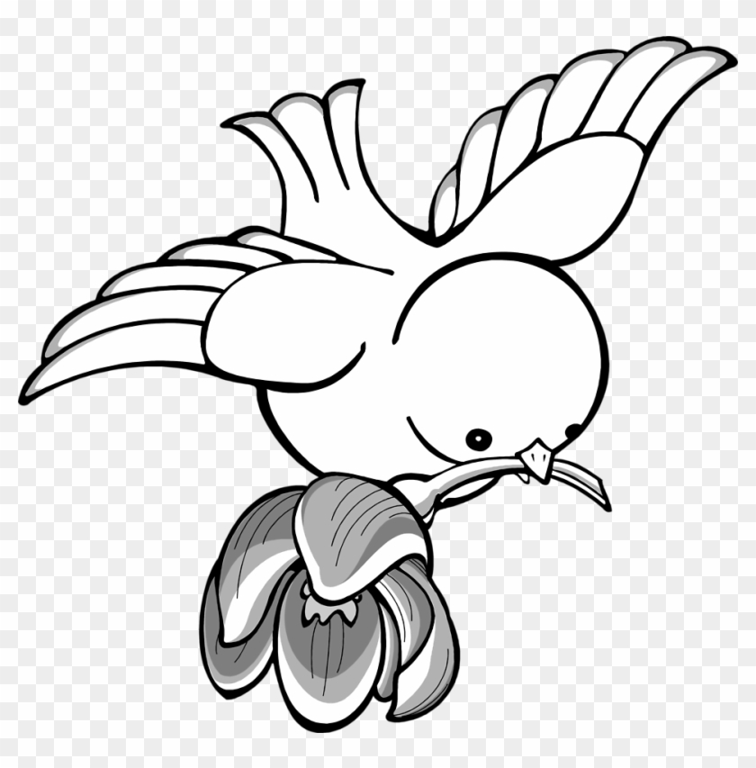 Bird Flying With A Flower In Its Mouth Clipart