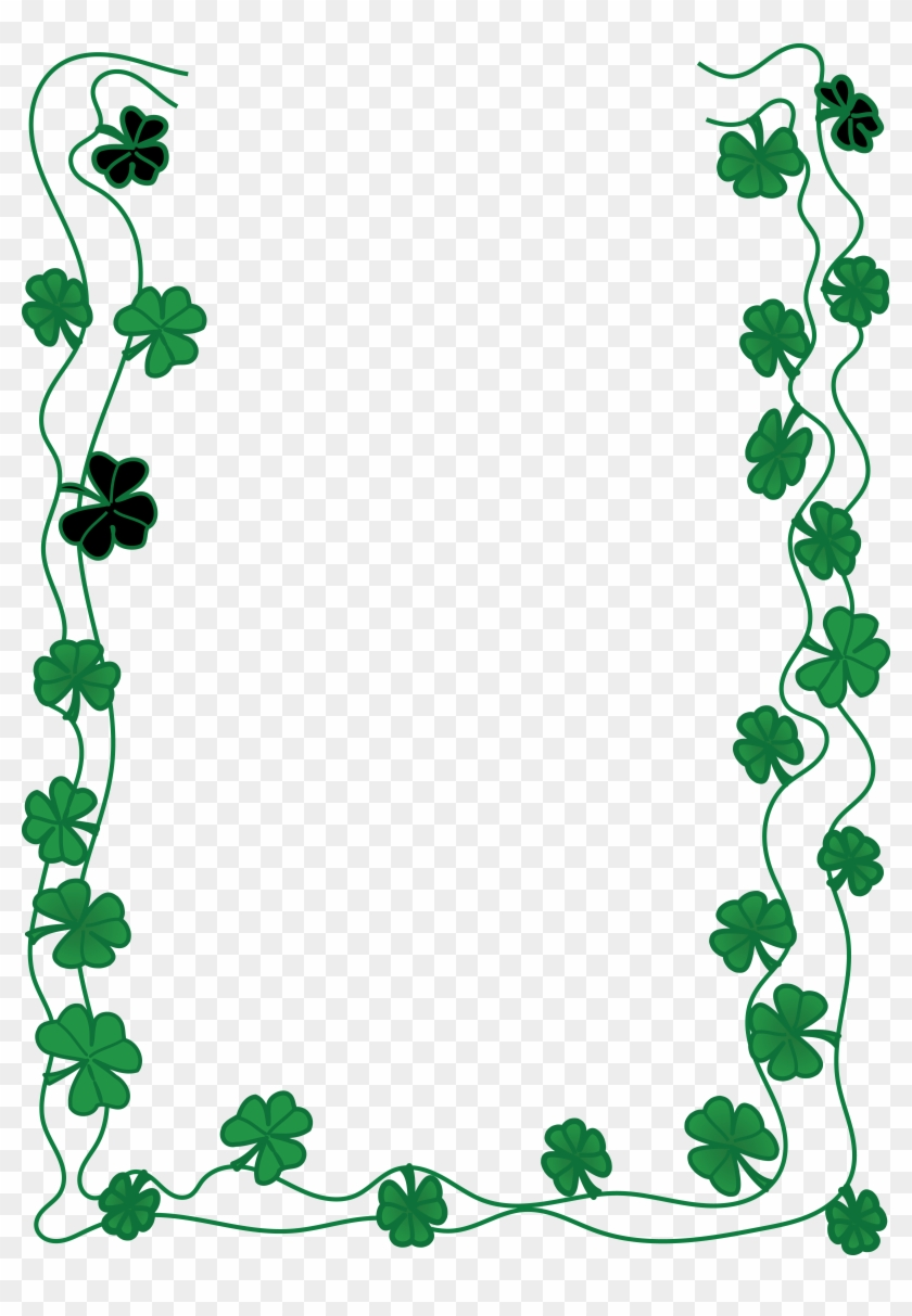 Free Clipart Of A St Patricks Day Shamrock Clover Border - St Patrick's Day Png #331506