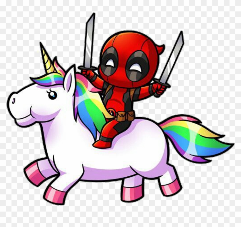 Deadpool Unicorn Unicornio Picsart Creative Love Tumblr - Deadpool Riding A Unicorn #331603
