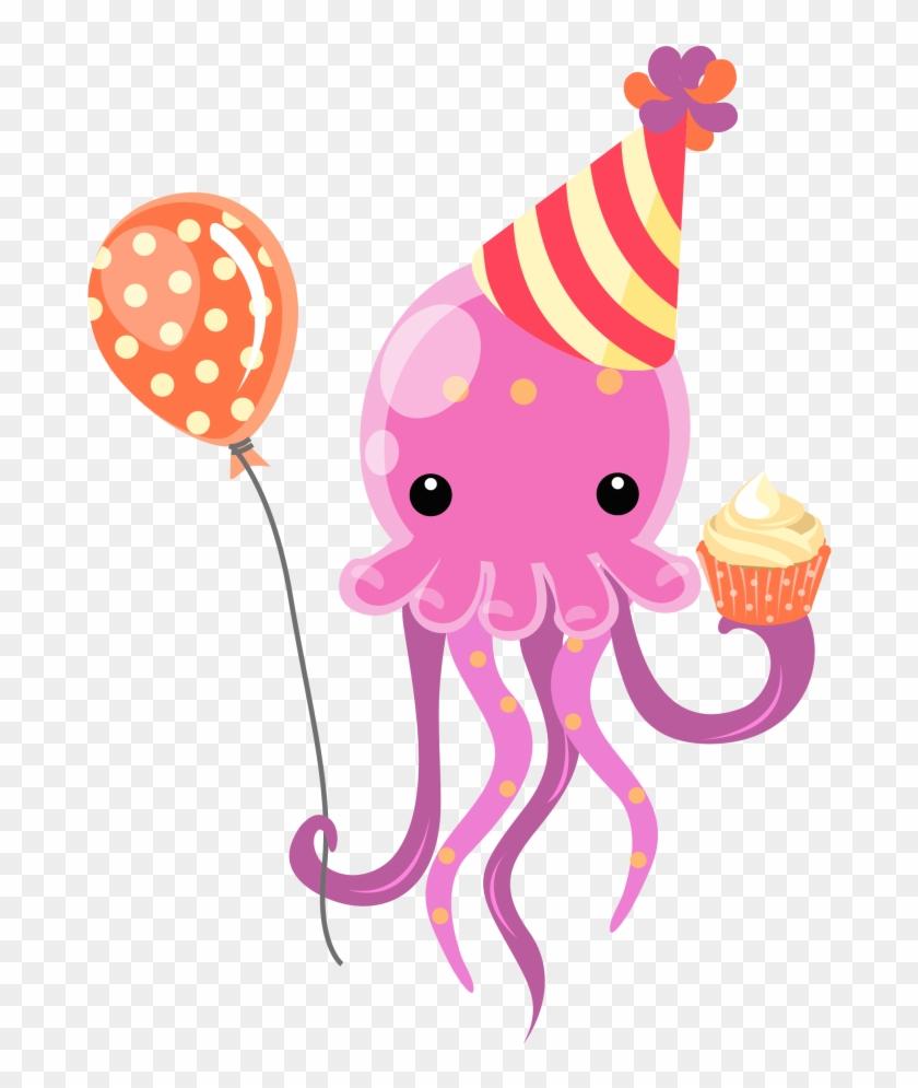 Blue Jellyfish Towel Cartoon Sea - Happy Birthday With Jellyfish #332256