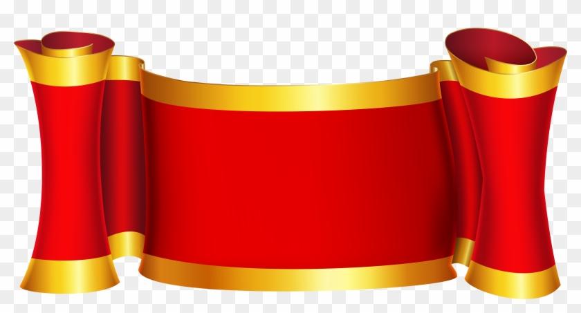 Red Gold Banner Png Clip Art Image - Ribbon Banner Png #332544