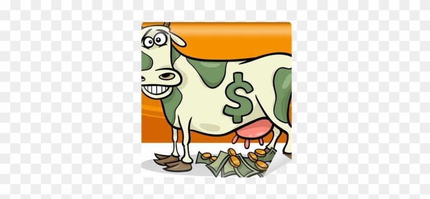 Karikatür Illüstrasyon Söyleyerek Nakit Inek Duvar - Cartoon Cash Cow #332796