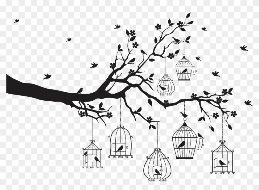 Printwallart Birds In Cages - Modern Cross Stitch Patterns Free