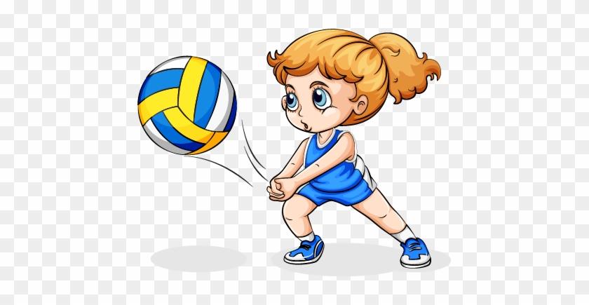 Volleyball Play Girl Clip Art - Cartoon Girl Playing Volleyball #333661