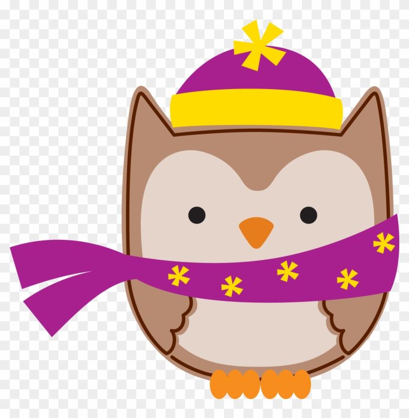 Whimsical Owl, Owl Birthday Parties, Owl Paper, Owl - Owl Klip Art Winter #335477