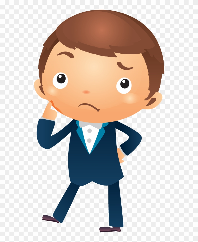 cartoon businessman thinking with hand pointing near - cartoon
