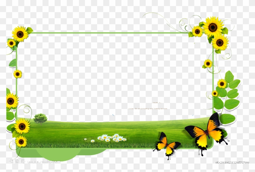 Common Sunflower Clip Art - Borders Flower Yellow And Green #335948