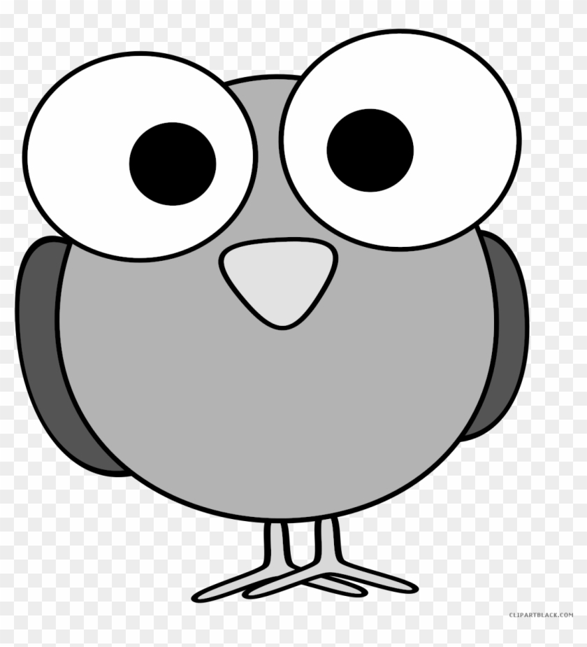 Bird Face Animal Free Black White Clipart Images Clipartblack - Cartoon With Big Eyes #336104