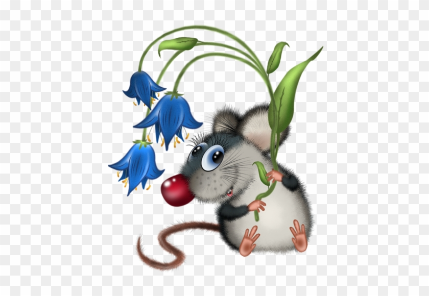 Cards - Mouse Holding Flower Clipart #337232