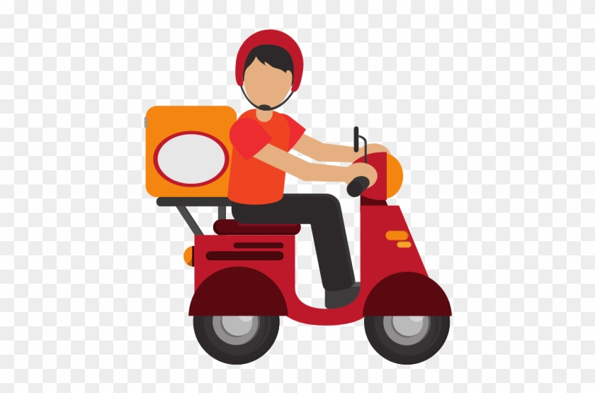 Man Delivering Boxes On Scooter Icon - Delivery Icon #337595