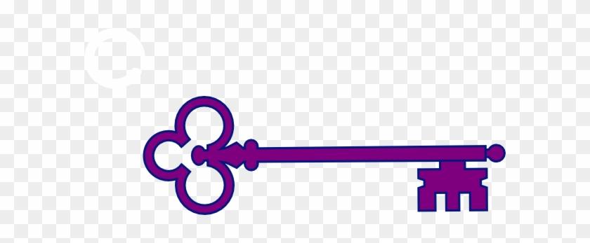 Purple Skeleton Key Clip Art - Skeleton Key Png #340619