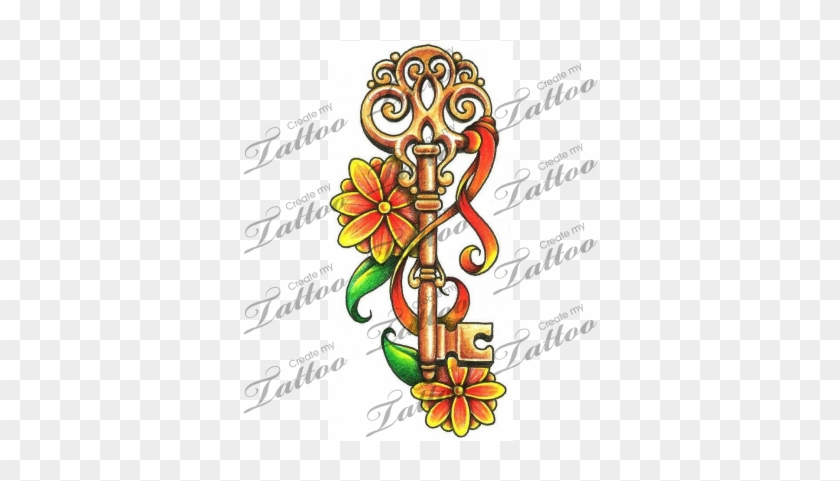 Marketplace Tattoo Vintage Key With Flowers And A Ribbon Archangel Michael Tattoo Designs Free Transparent Png Clipart Images Download
