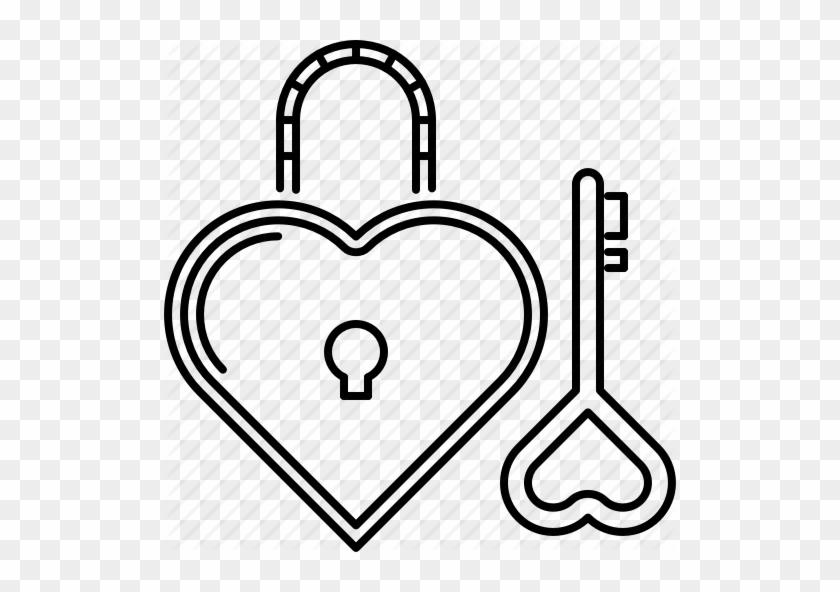 Day, Heart, Key, Lock, Love, Relationship, Valentine - Lock Heart Outline Png #341121