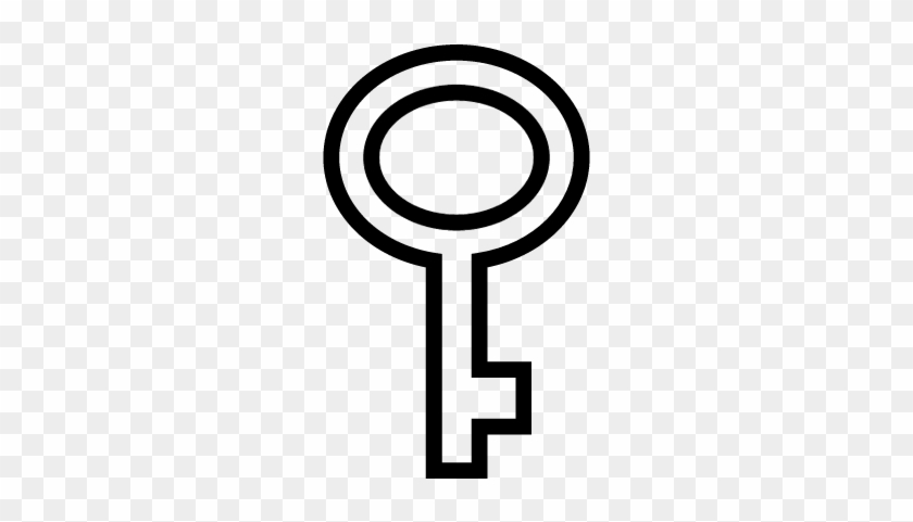 Key Of Oval Shape Outline Vector - Key Outline #341147