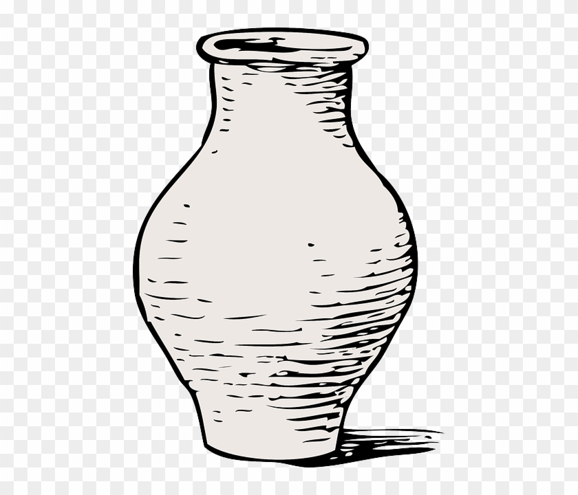 Empty Beige Black Outline Flower White Cartoon Vase Clip Art Free Transparent Png Clipart Images Download