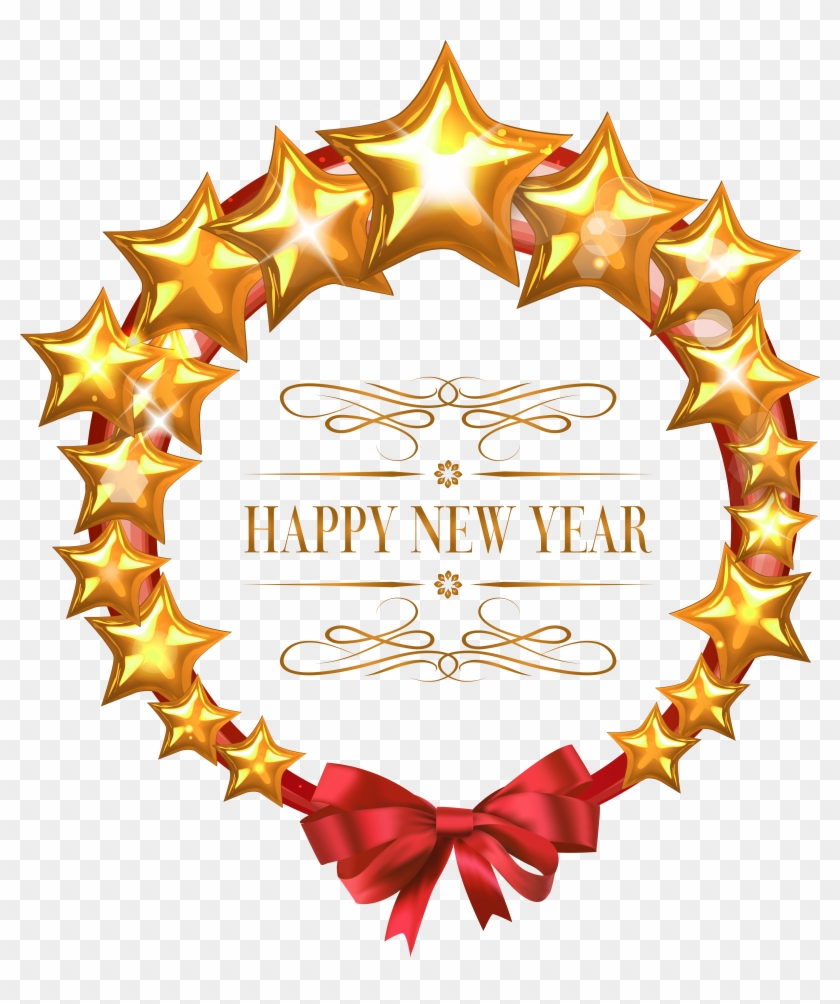 Star Clipart New Year Frame Happy New Year Png Free Transparent