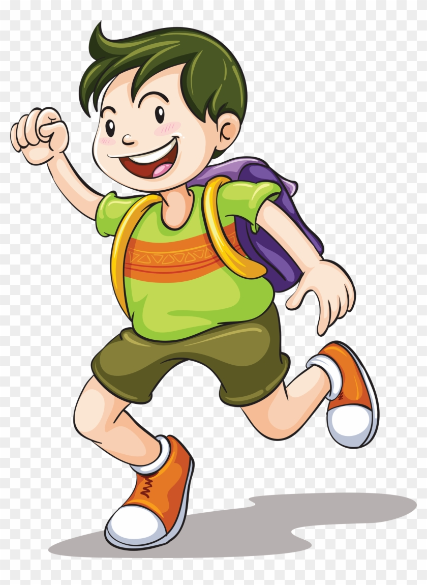 Drawing Clip Art - Boy With School Bag Clipart #341331
