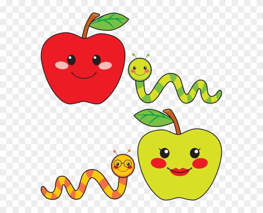 Caramel Apple Worm Drawing Illustration - Cute Drawing Of Apple #341575