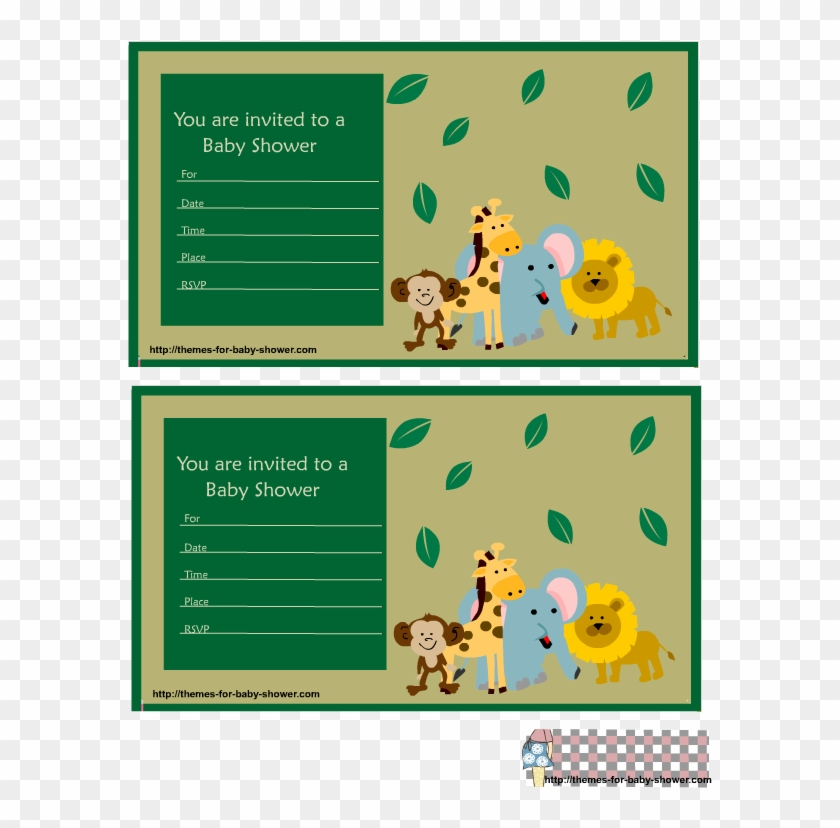 Safari Baby Shower Invitations Featuring Lion, Monkey, - Jungle Safari Baby Shower Invitation Green #341599