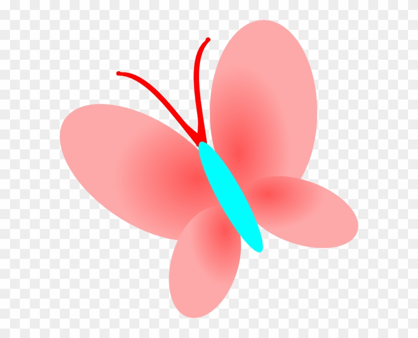 Blue Pink Butterfly Clip Art At Clker - Butterfly Clipart Drawing Color #342739
