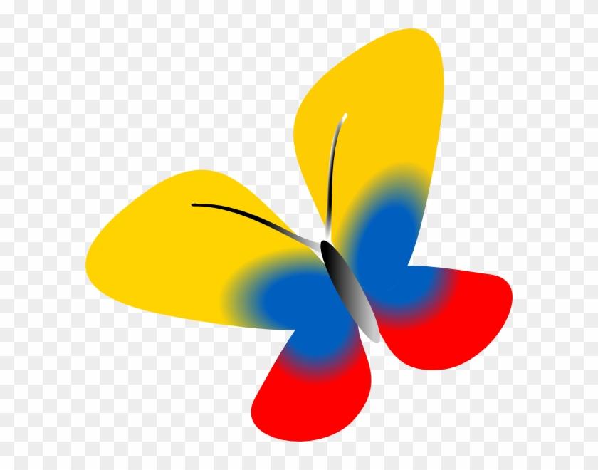 Colombia Flag Butterfly Svg Clip Arts 600 X 580 Px - Bandera De Colombia Animada #343136
