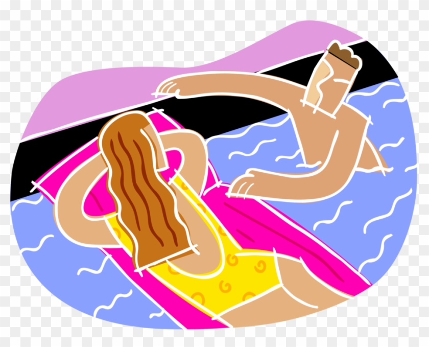 Vector Illustration Of Swimmer Floating On Inflatable - Swimming Pool Clip Art #343630