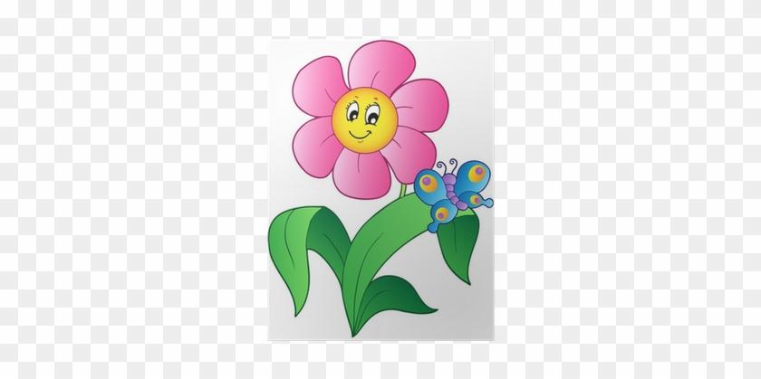 Plakat Tegneserieblomst Med Sommerfugl • Pixers® - Cartoon Pictures Of Flowers #343745