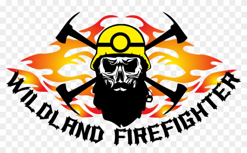 Wildland Firefighter Flames And Skull With Beard Decal - Wildland Firefighter Clip Art #343904