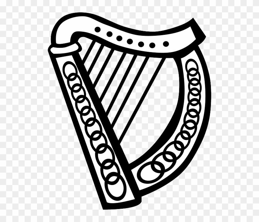Music, Celtic, Simple, Outline, Symbol, Symbols, Harp - Irish Harp Clip Art #346256