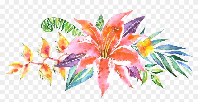Floral Pattern Vector, Floral Patterns, Flower Line - Watercolor Flowers Line Png #347115