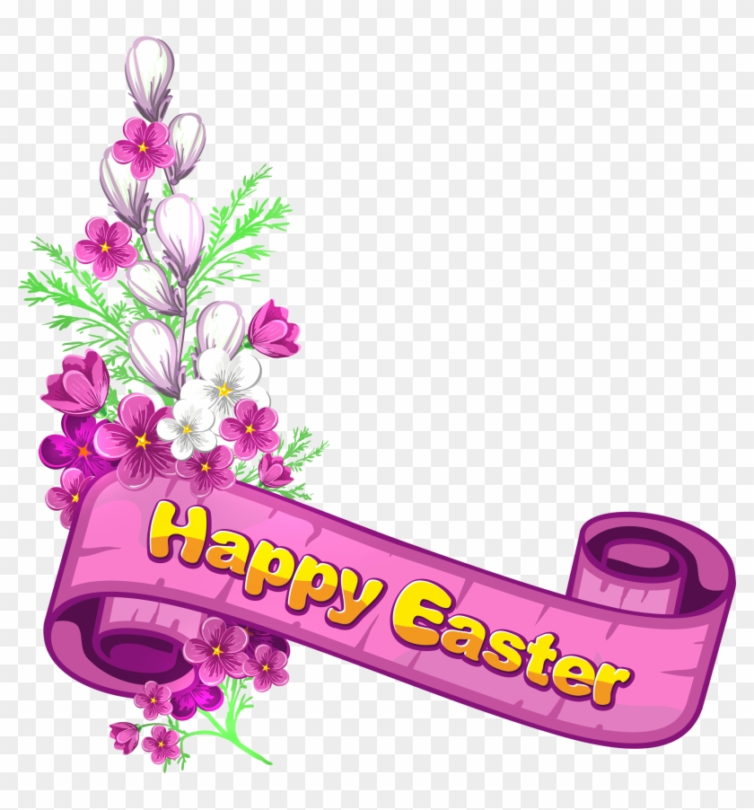 Pink Happy Easter Banner And Flowers - Happy Easter Border Clipart #61024