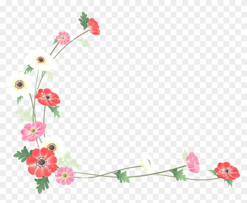 Borders And Frames Flower Watercolor Painting Clip - Water Color Flower Border Png #348382