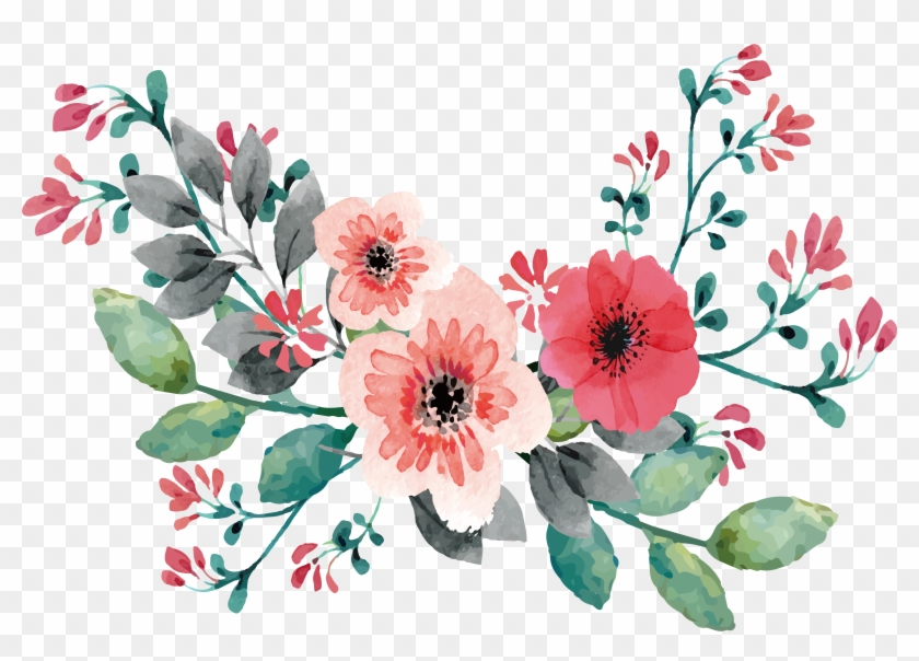 Wedding Invitation Flower Watercolor Painting Clip - Flowers On Vine Painting #348461