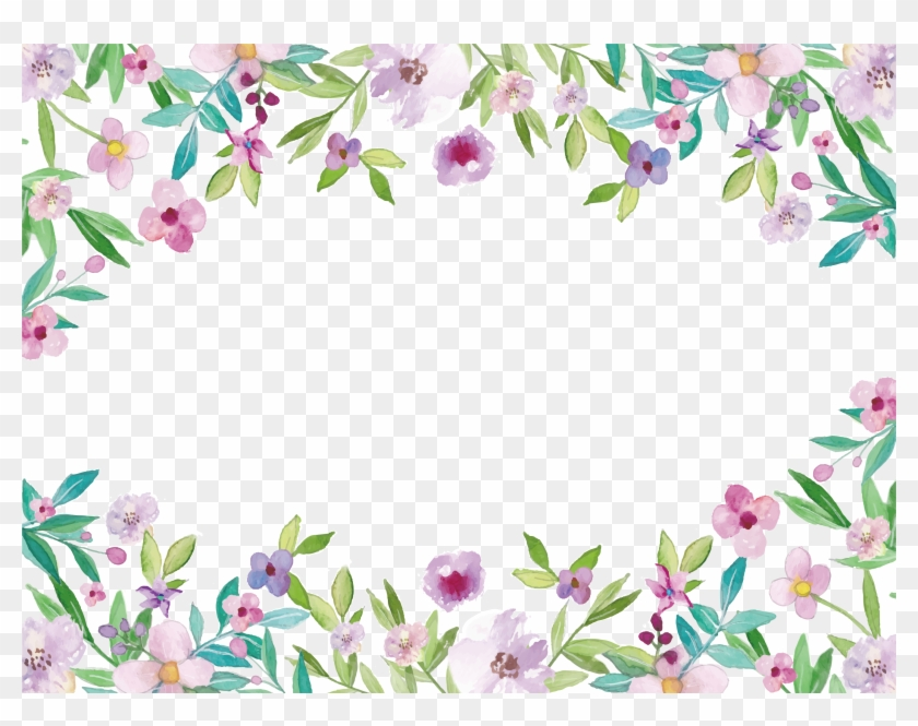 Watercolor Painting Clip Art - Watercolor Floral Border Png #348635