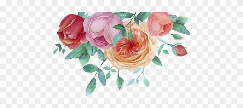 Watercolor Painting Flower Garden Roses - Watercolor Floral Frame Png #348712