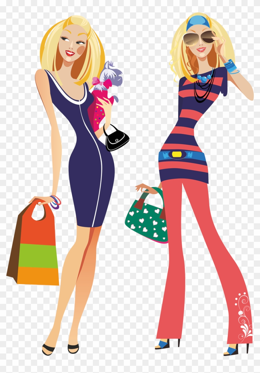 Girls Shopping - - Fashion Woman Clipart Png #349654