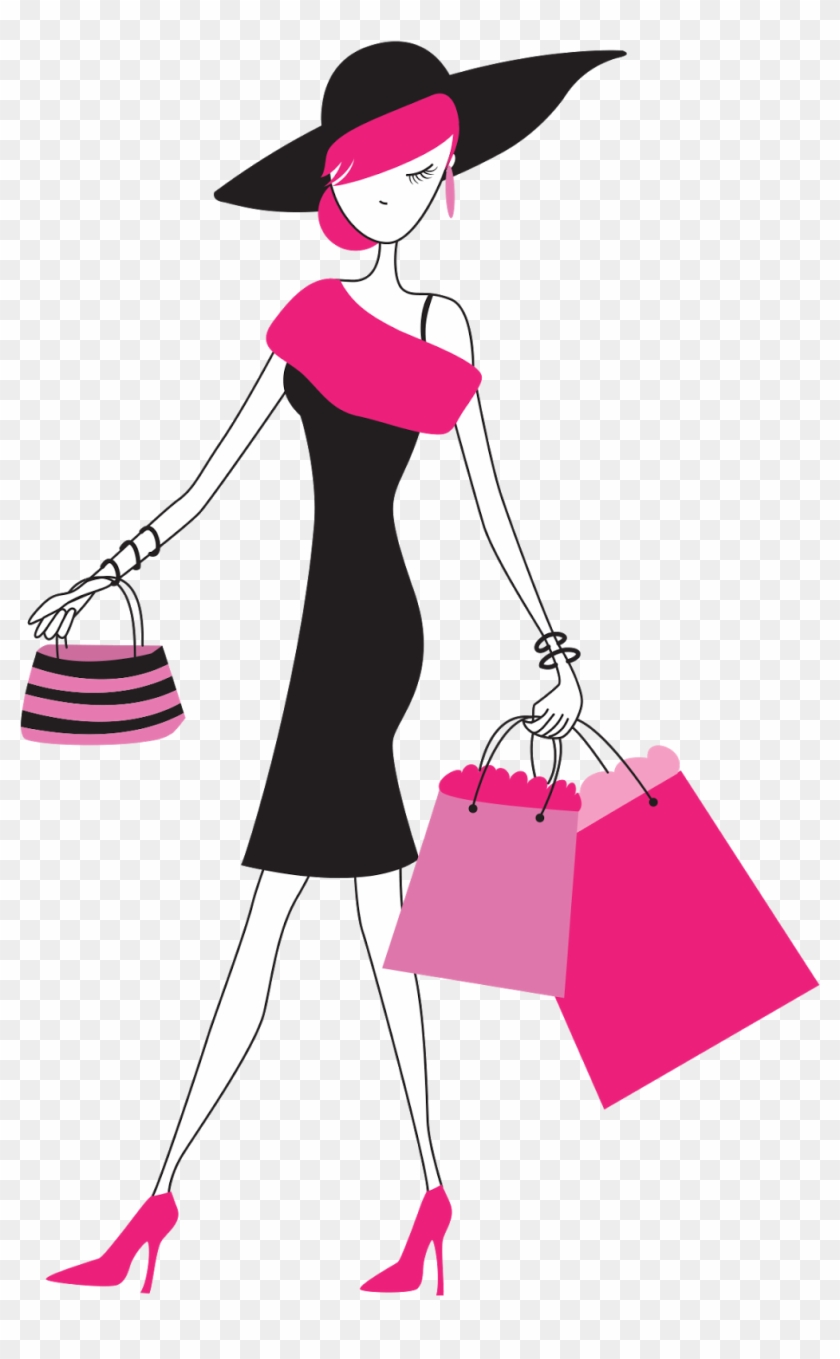Fashion Girl Clipart Png - Lady With Shopping Bags #349681
