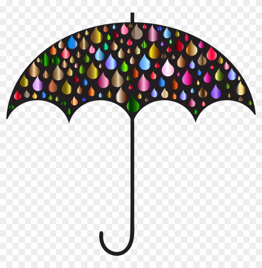 Rain Drops Umbrella Silhouette 4 - Clip Art Rain Drops #349833
