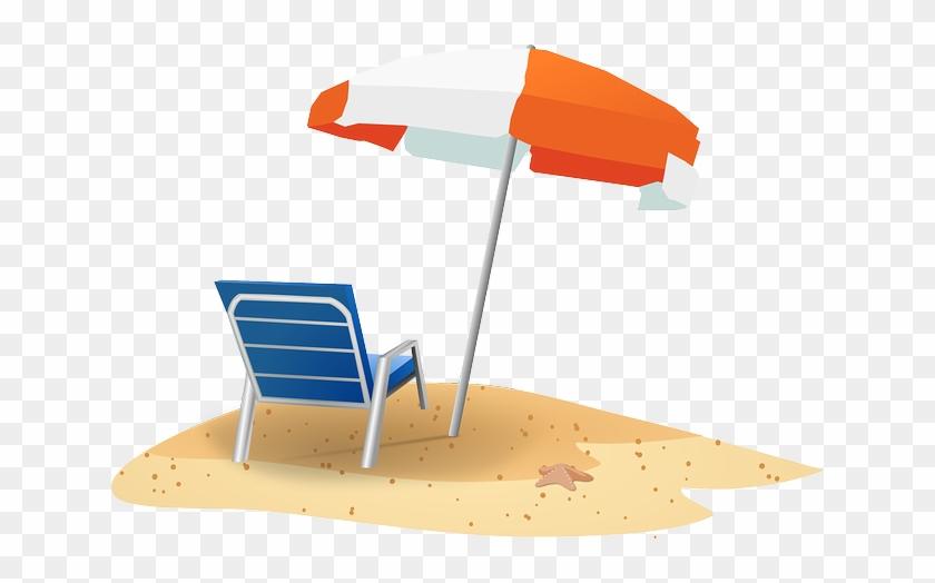 Bathing Beach Ocean Sun Sunny Travel Umbre - Beach Chair And Umbrella Clipart #350026