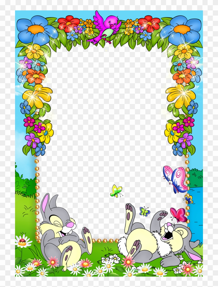 Cute Blue Kids Png Photo Frame With Flowers And Bunnies - Frame Kid ...
