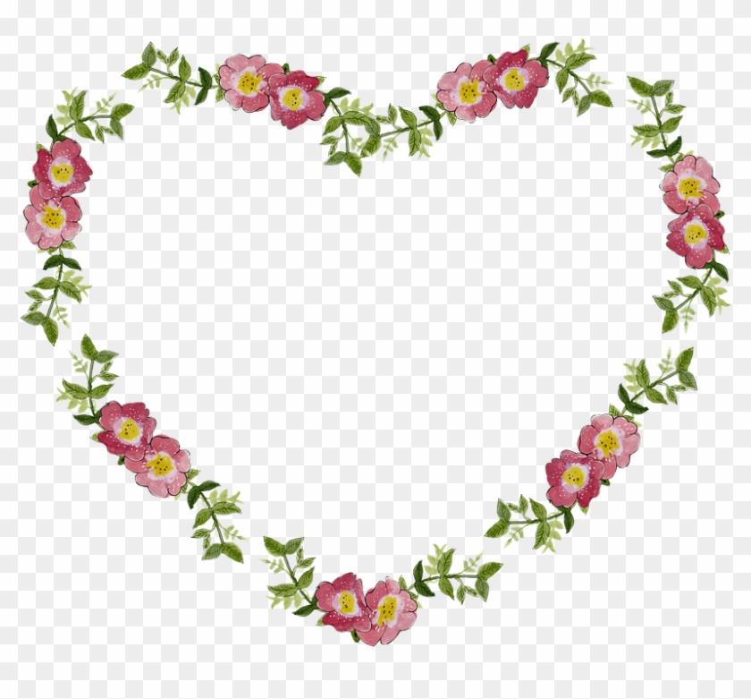 Bridal Frame Cliparts 12, - Flower Heart Frame Png #350095