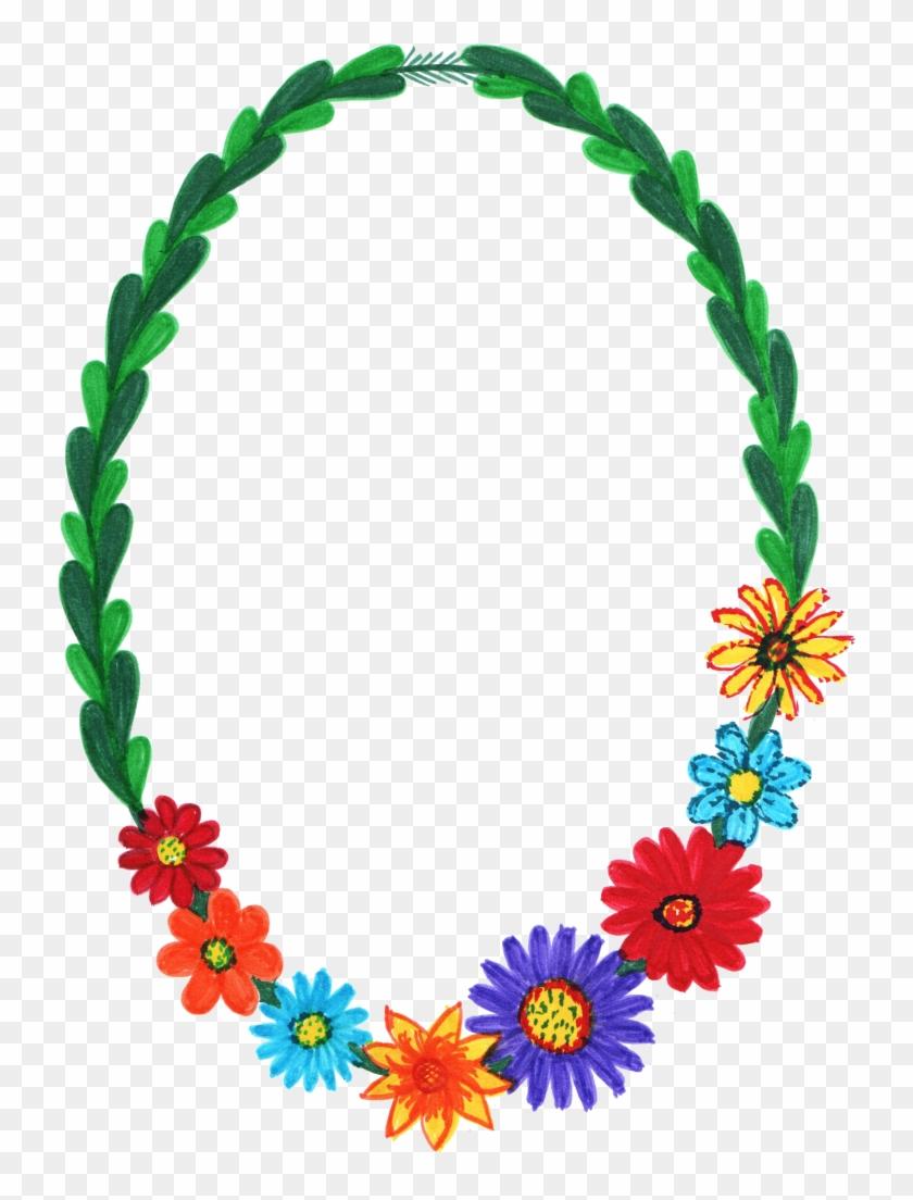 Png File Size - Oval Flower Frame Border #350126
