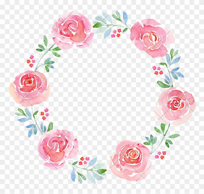 Beautiful Flower Watercolor Wreath - Watercolor Flower Wreath Png #350800