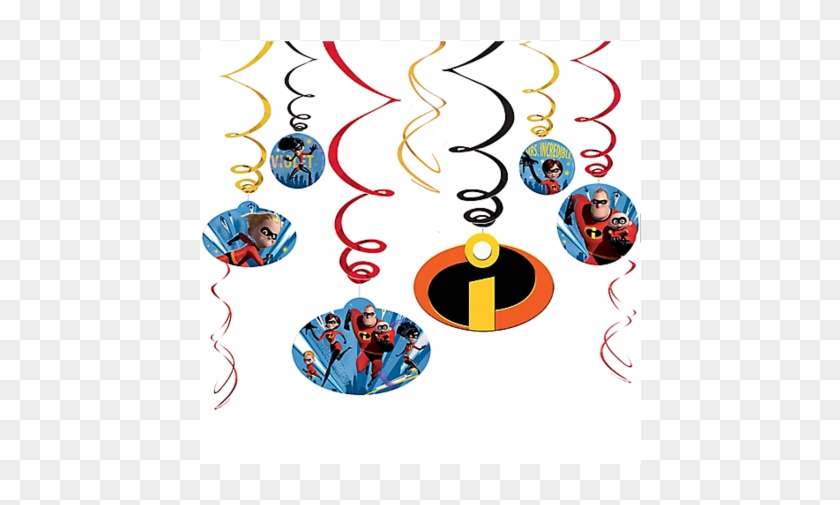 Incredibles 2 Swirl Decorations 10' - Num Noms Party Swirl Decorations #351097