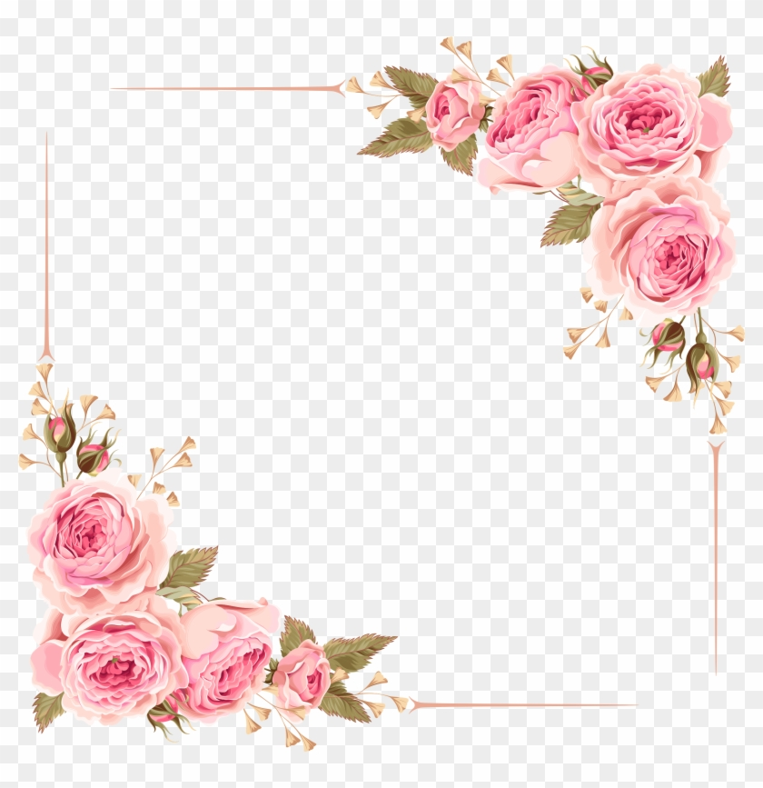 Wedding Invitation Flower Rose Pink Clip Art - Wedding Invitation Flower Borders #351207