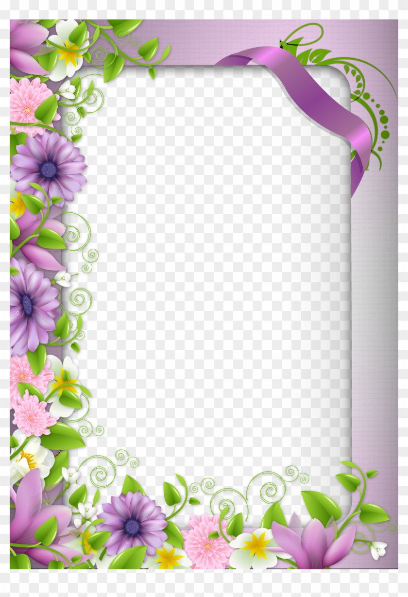 Transparent Png Photo Frame With Purple Flowers - Borders And Frames Flowers #351282