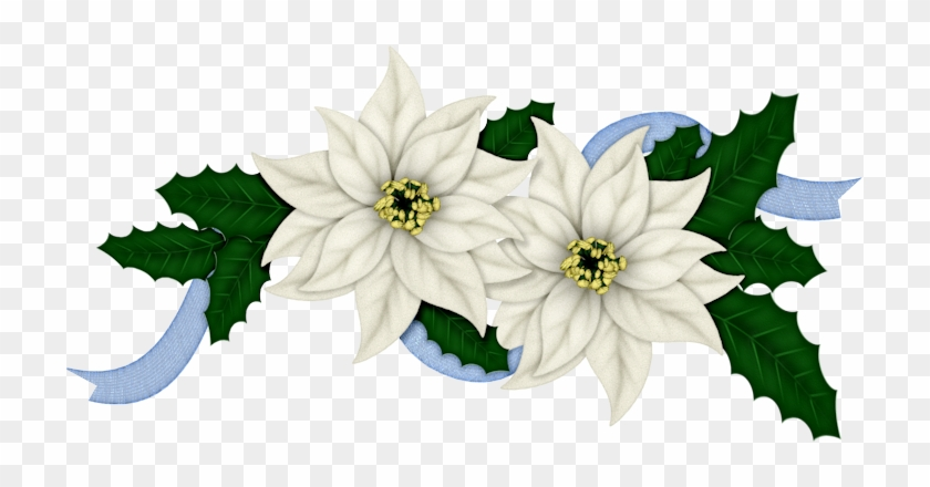 Flowers Of Christmas In Blue Clip Art - Happy Holidays- Christmas, Holiday, Poinsettia Card #351501