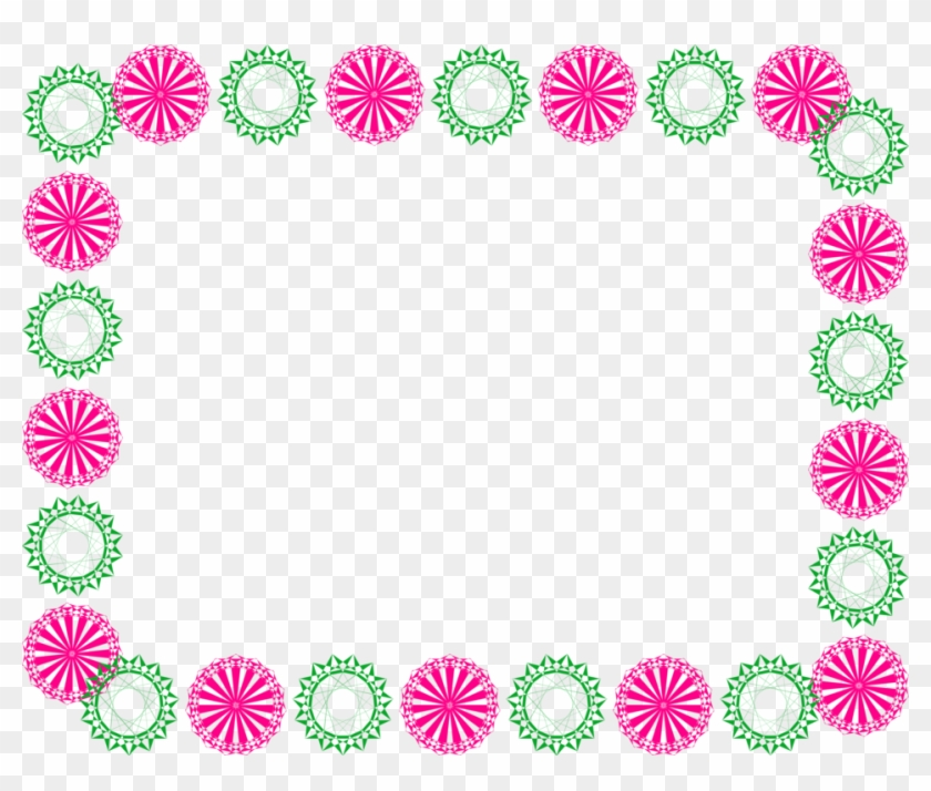 Illustration Of A Blank Frame Border Of Pink And Green - Border Pink Design Clipart #352210